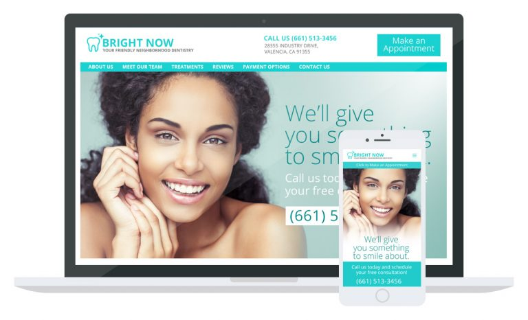 Bright Now Dentistry website mockup